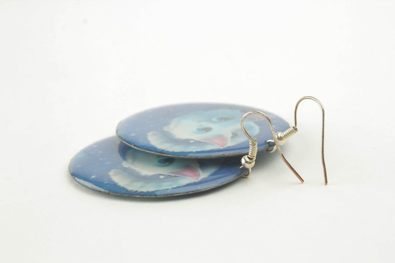 Homemade round earrings photo 2