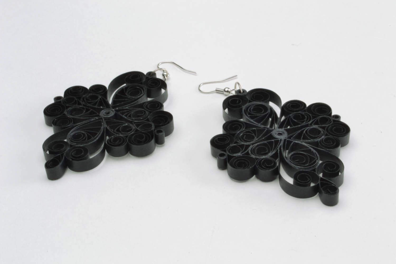 Handmade lace black earrings photo 5