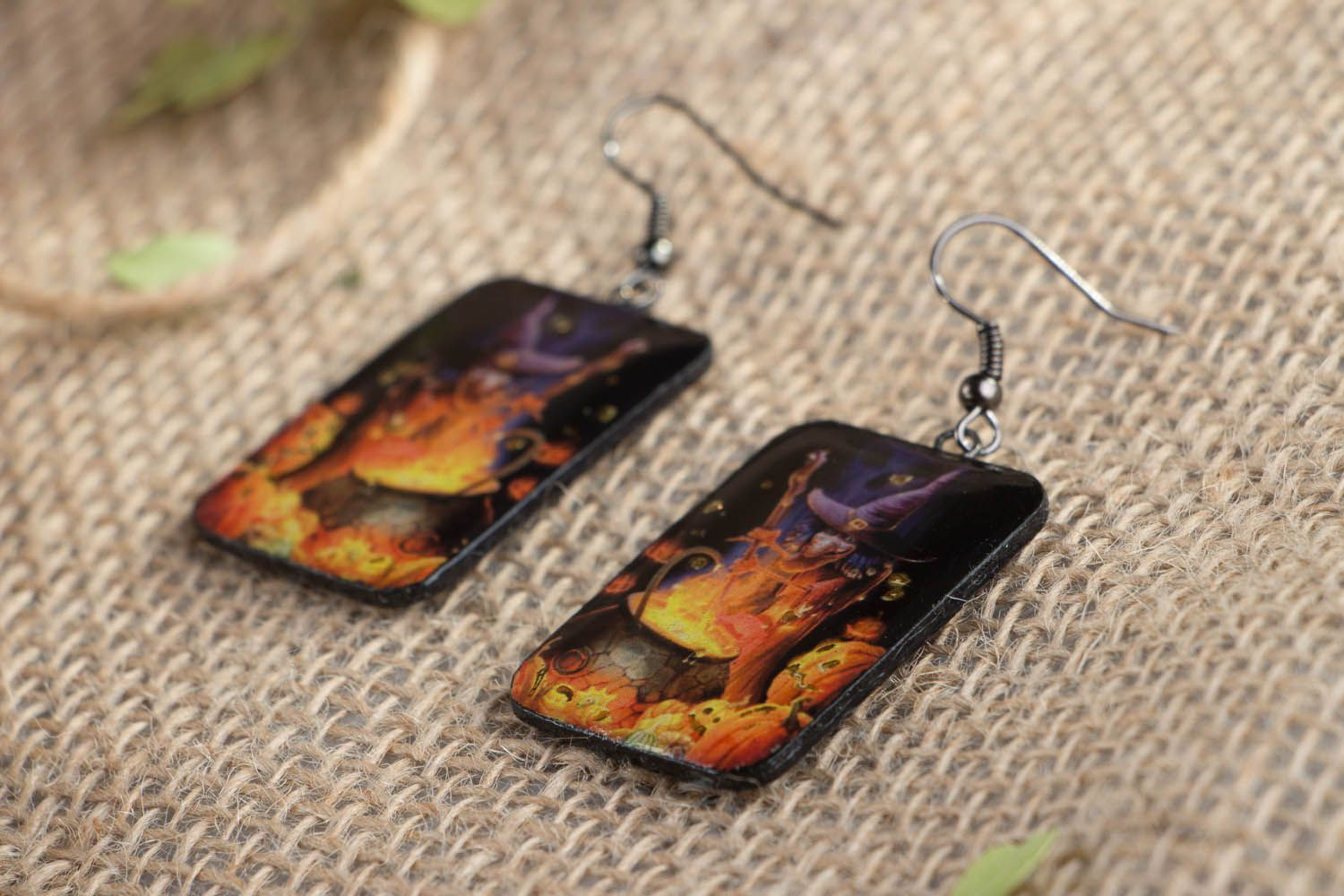 Polymer clay earrings Little Witch photo 2