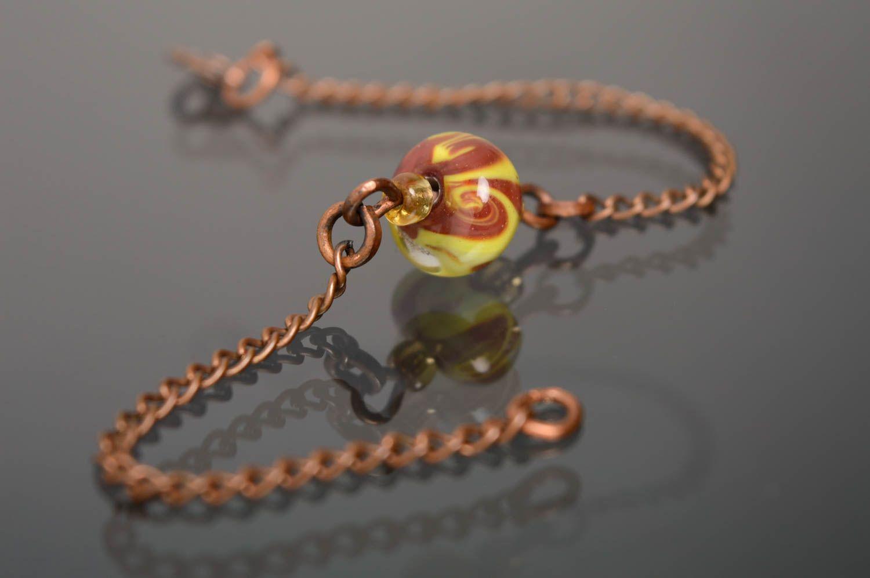 Wrist bracelet with lampwork glass bead photo 2