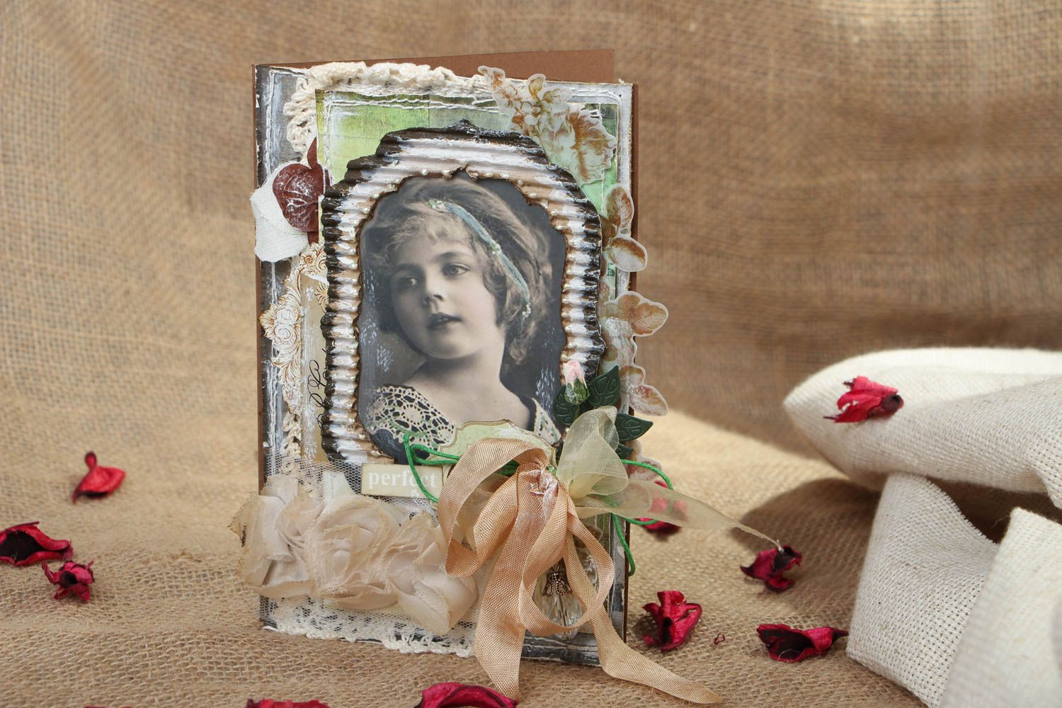 Scrapbooking greeting card in Shabby Chic style  photo 5