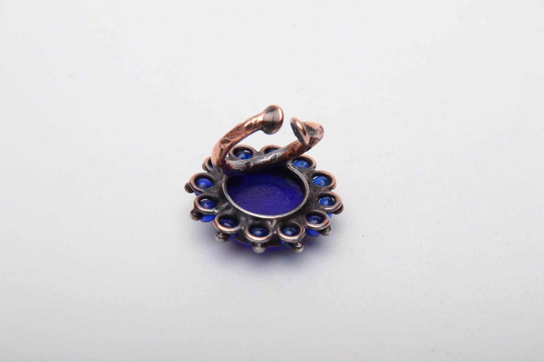 Kupfer Ring mit blauem Glas foto 4