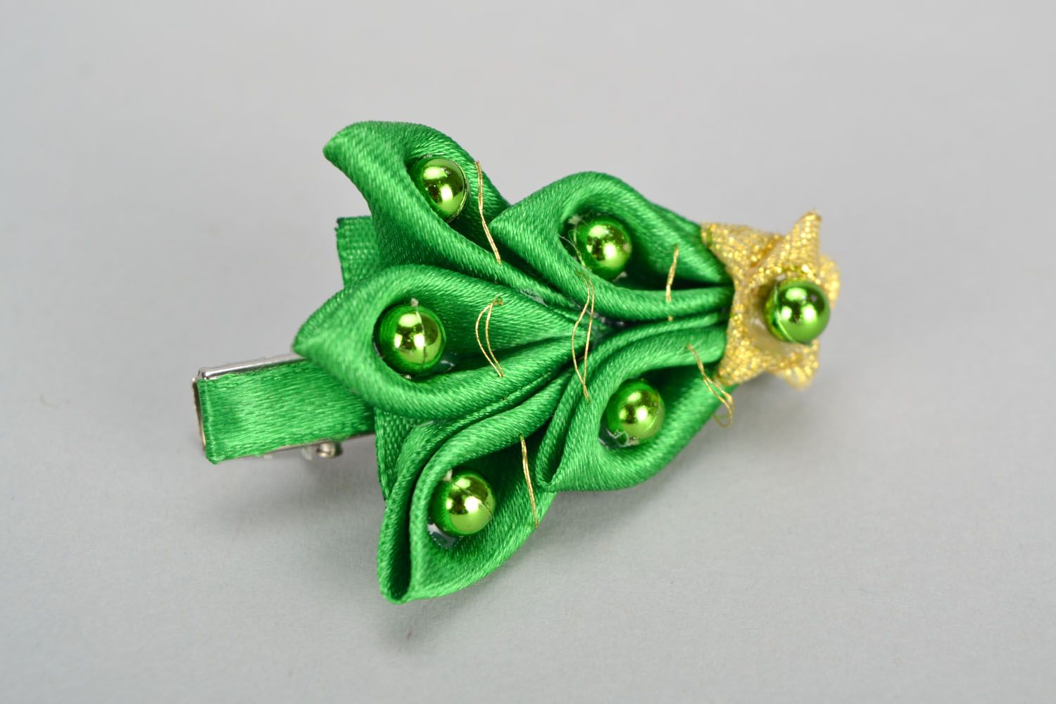 Homemade green hair clip Christmas Tree photo 3