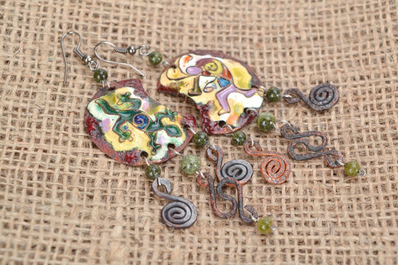 Long copper earrings photo 1