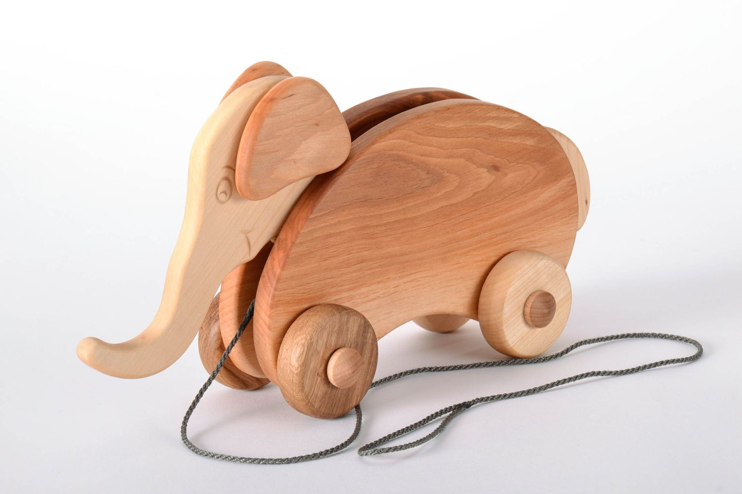 wooden toys Wooden Elephant on Wheels - MADEheart.com