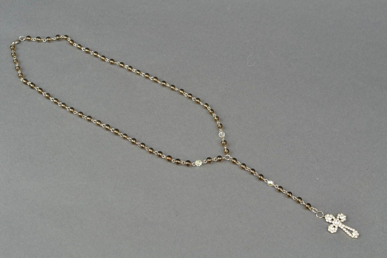 Women's quartz bead necklace with cross photo 4