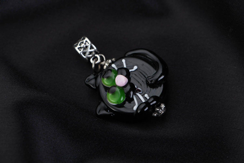 Anhänger aus Glas Schwarze Katze foto 1