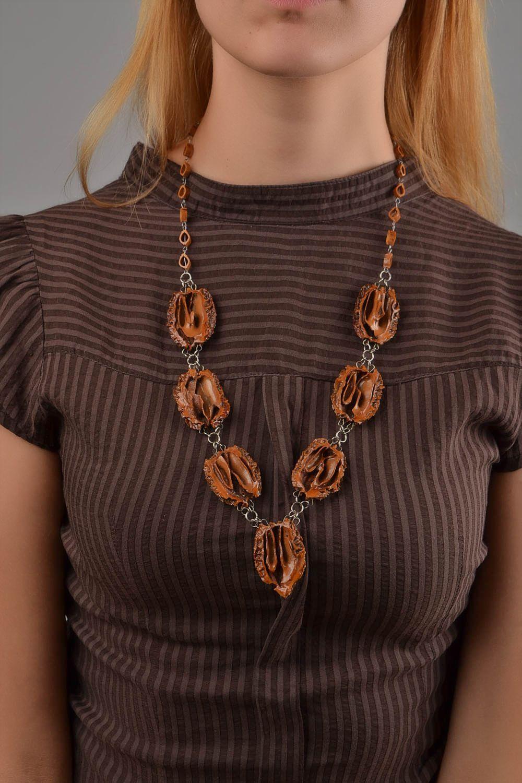 collier femme fantaisie bois