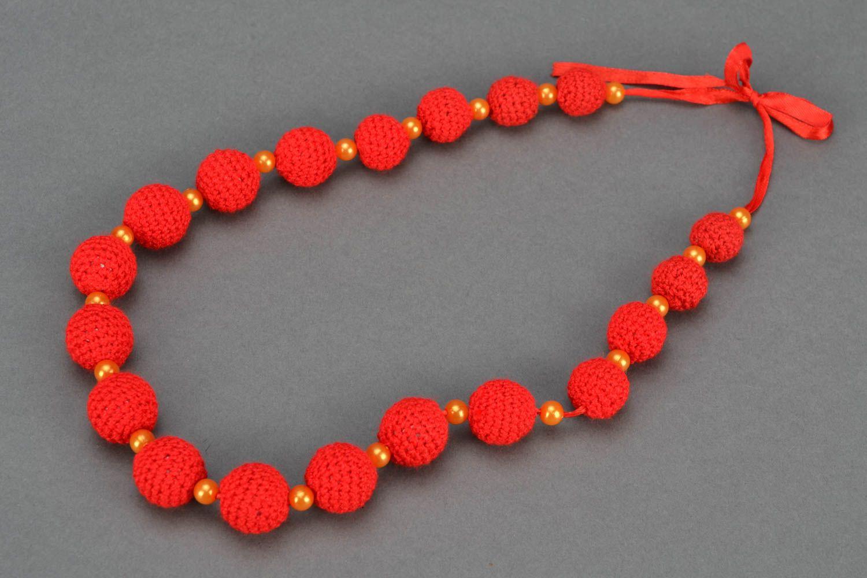 Crochet jewelry set: earrings, necklace and bracelet photo 4