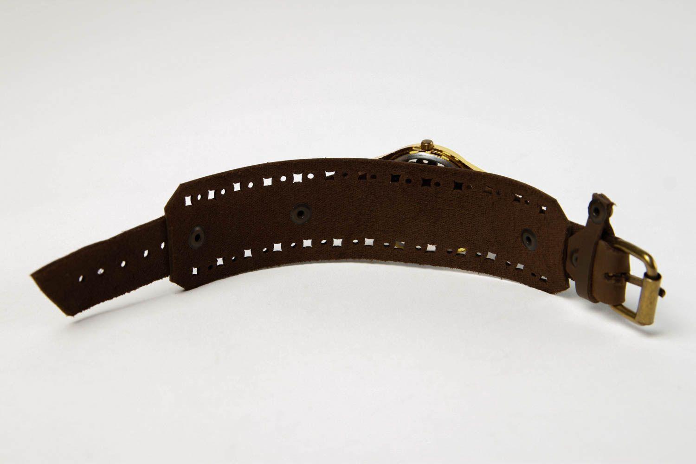 Handmade leather bracelet stylish watch on wristlets unusual designer jewelry photo 5