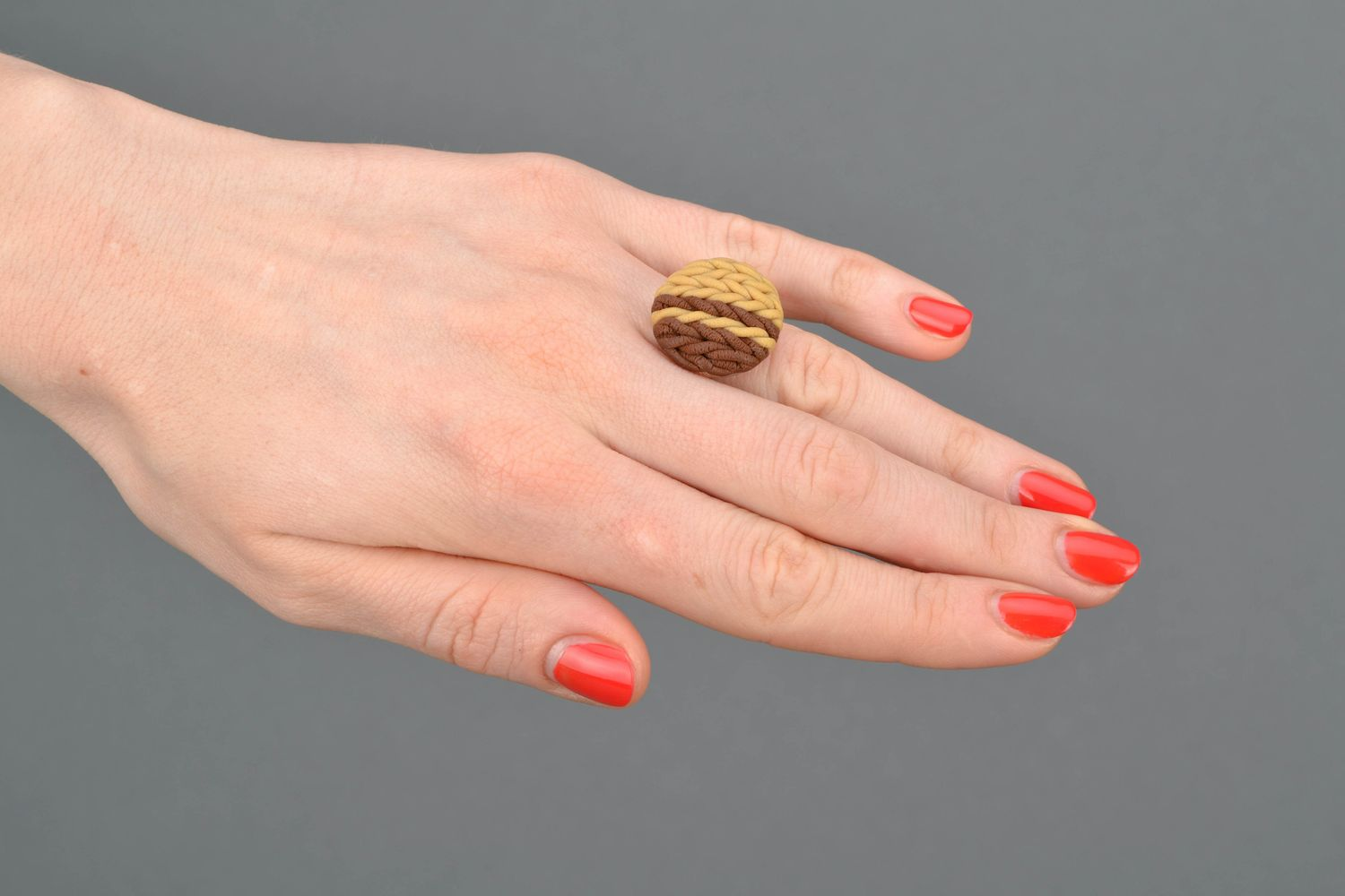 Polymer clay ring with adjustable size photo 2
