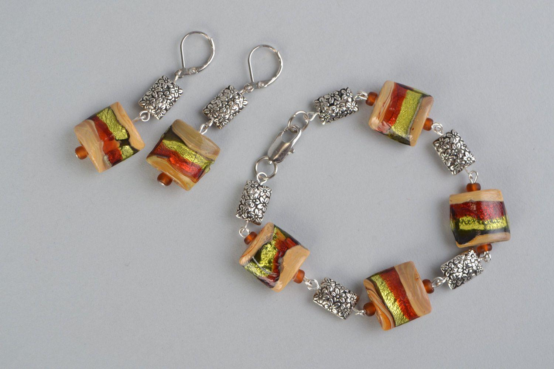 6a52b3cf39b6 sets de joyas Set de bisutería de cristal en técnica de lampwork 2 piezas  pulsera y
