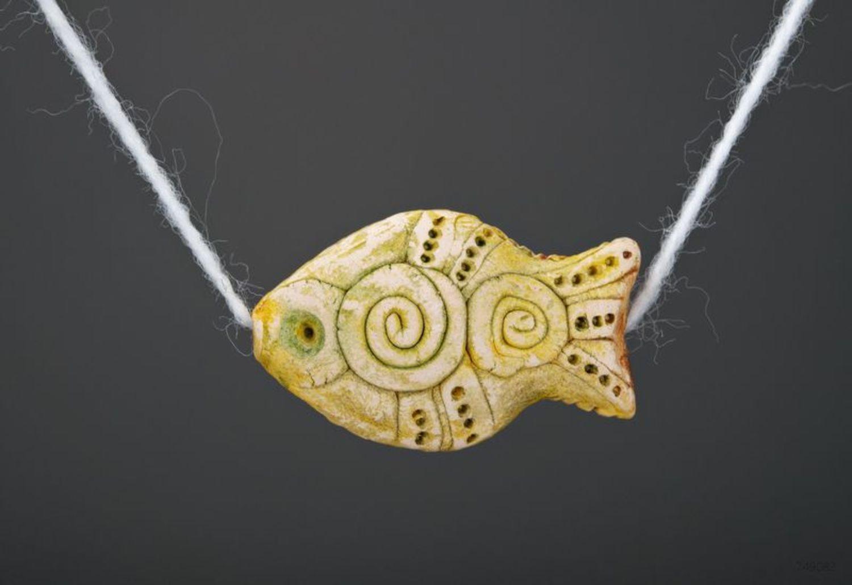 Керамическая подвеска Рыбка золотая фото 2