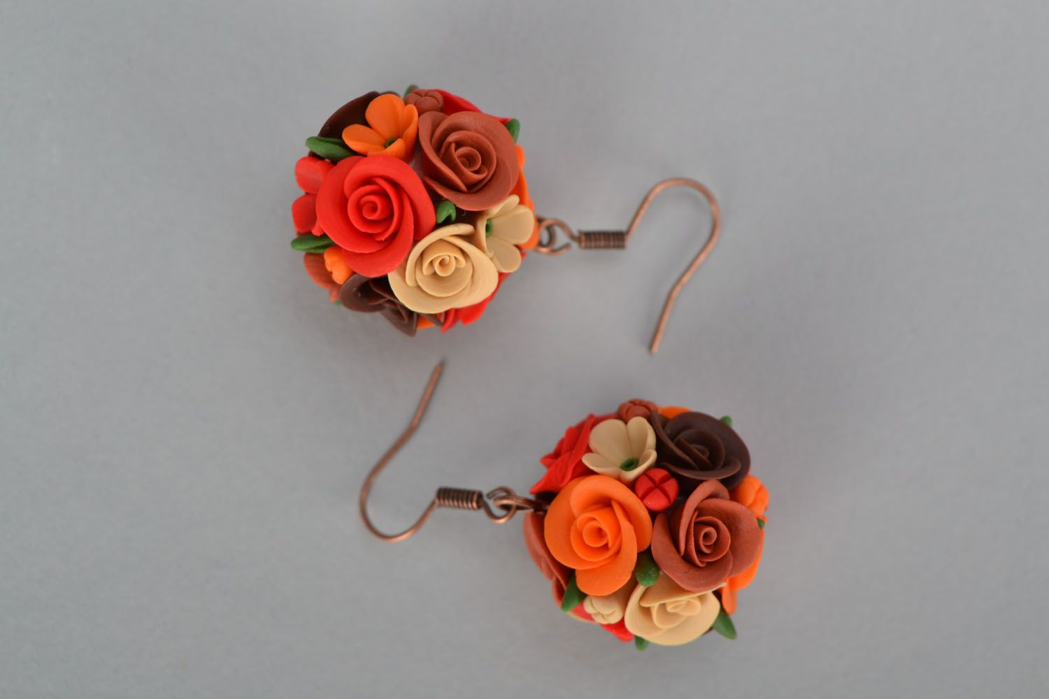 Handmade earrings Flower Balls photo 2