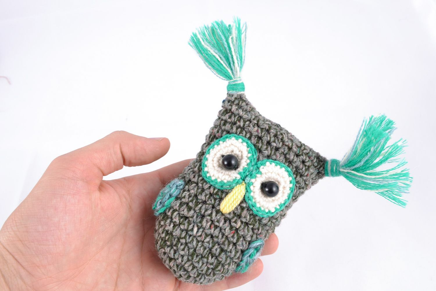 knitted toys Soft crochet toy gray owl - MADEheart.com