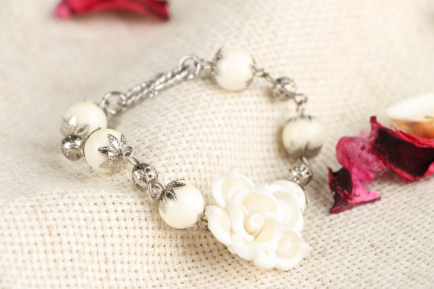 Bracelet with white flower-1