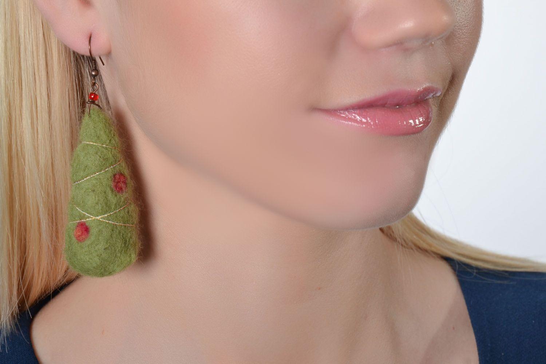 Wool earrings Christmas Trees photo 2