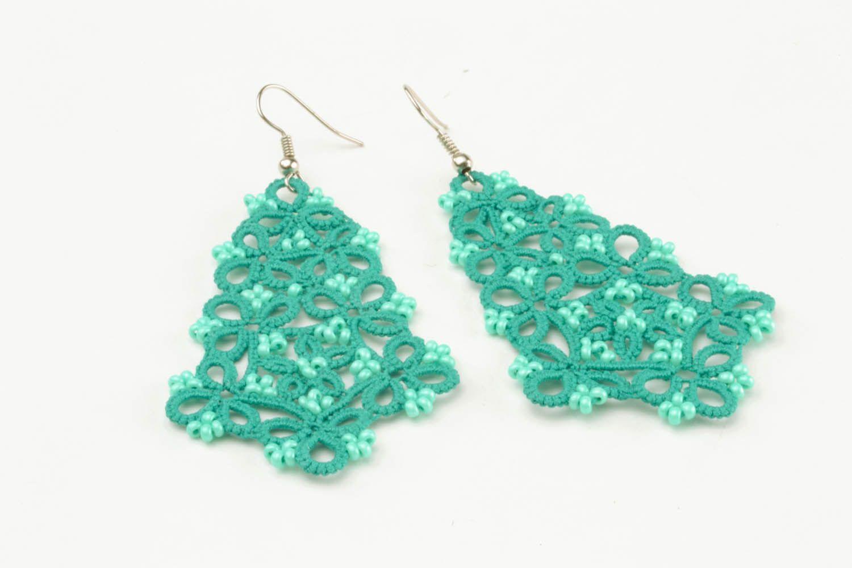 Lace blue earrings photo 4