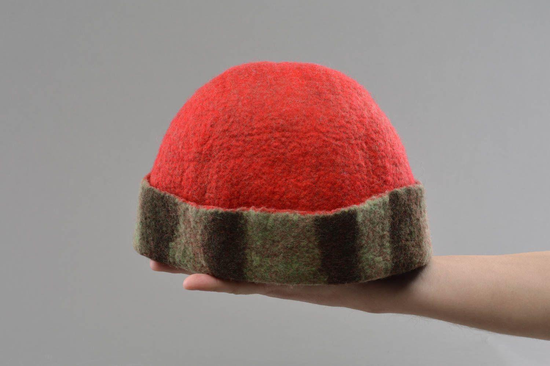 Handmade red felted wool sauna hat designer sauna accessories photo 4
