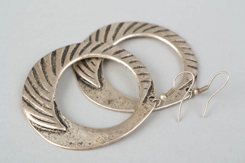 Handmade hoop earrings with patterns photo 4