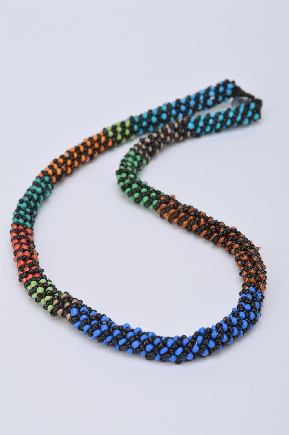 Handmade designer colorful beaded cord necklace Savanna for elegant ladies photo 5