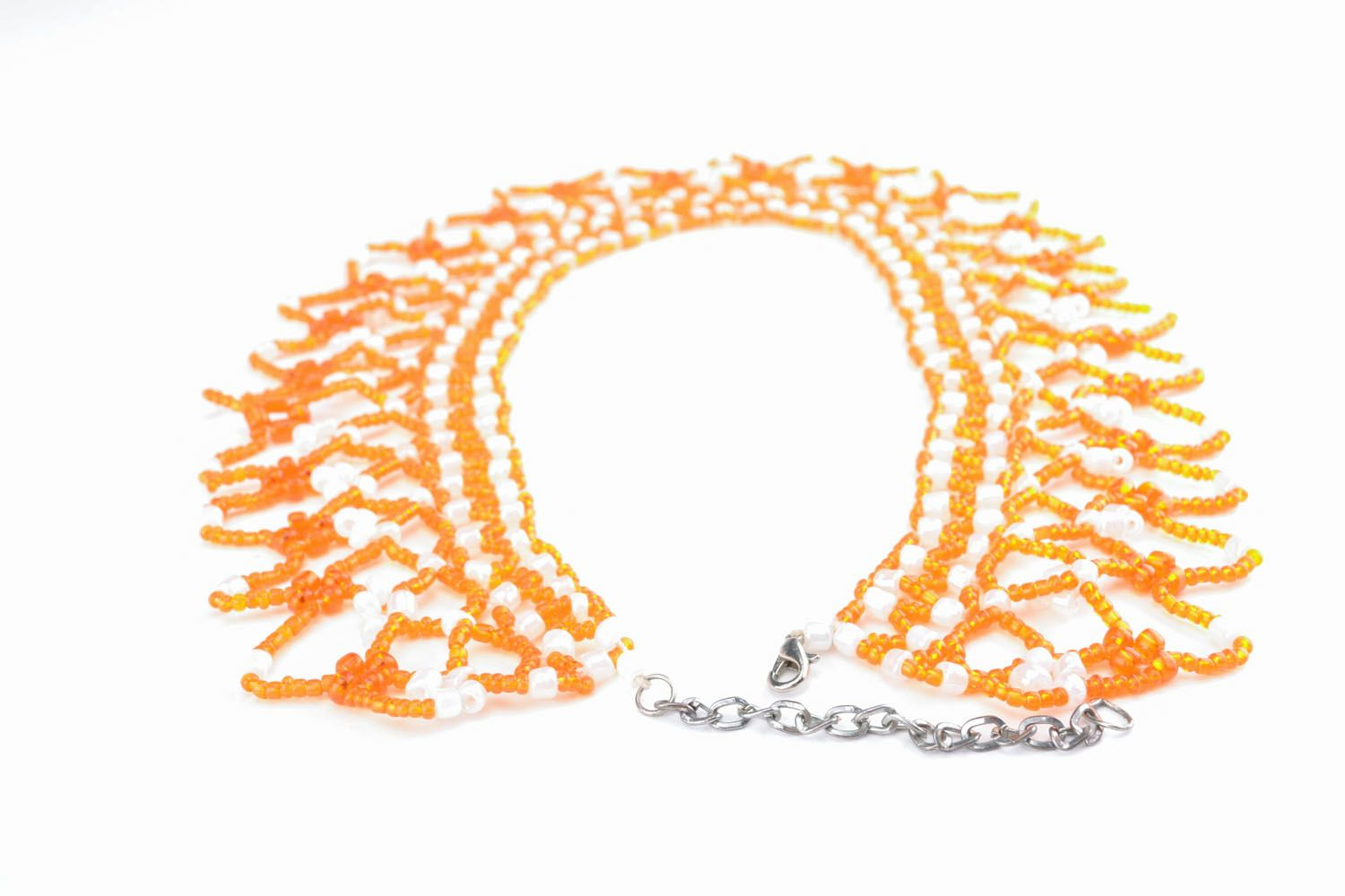 Orange Collier aus Perlen foto 2