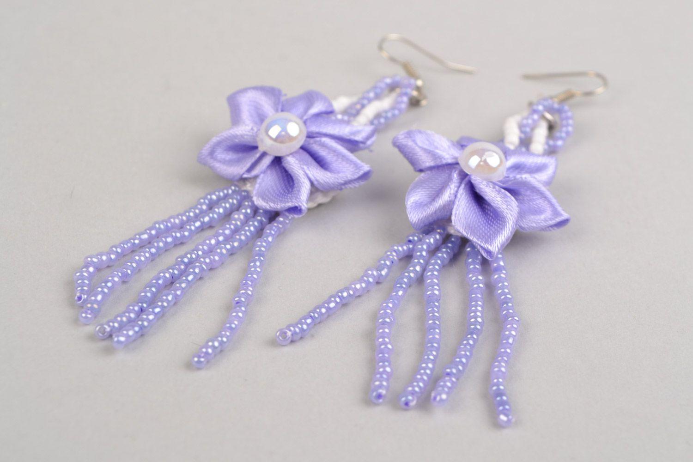 Braided handmade long purple earrings made of satin with flower photo 4