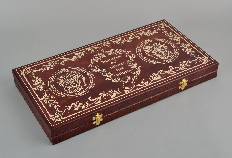 Handmade wooden backgammon photo 2
