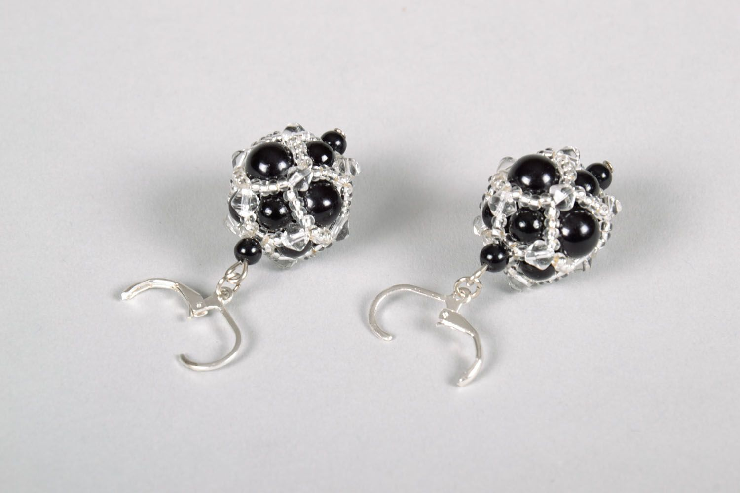 Evening earrings with black beads photo 4