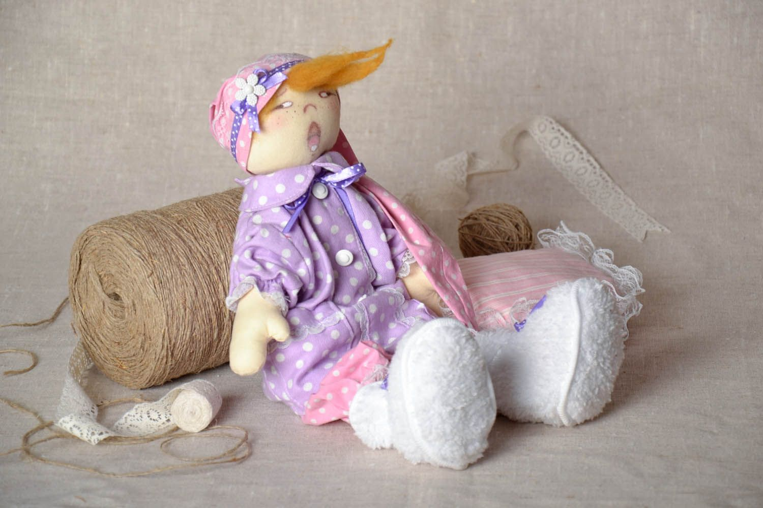 Decorative doll Sonya with a Pillow photo 1