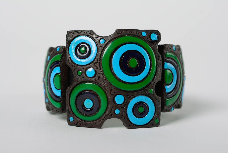 Bracelet en cuir et céramique large multicolore à motif géométrique fait main photo 1