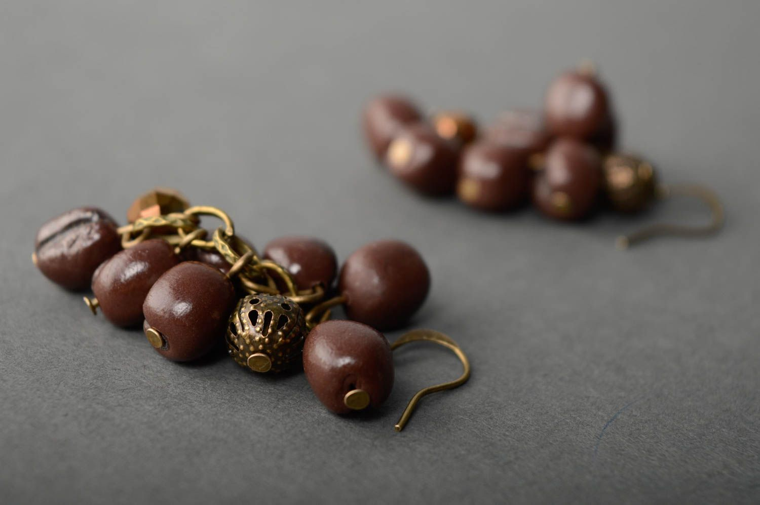 Polymer clay earrings Coffee Beans photo 4