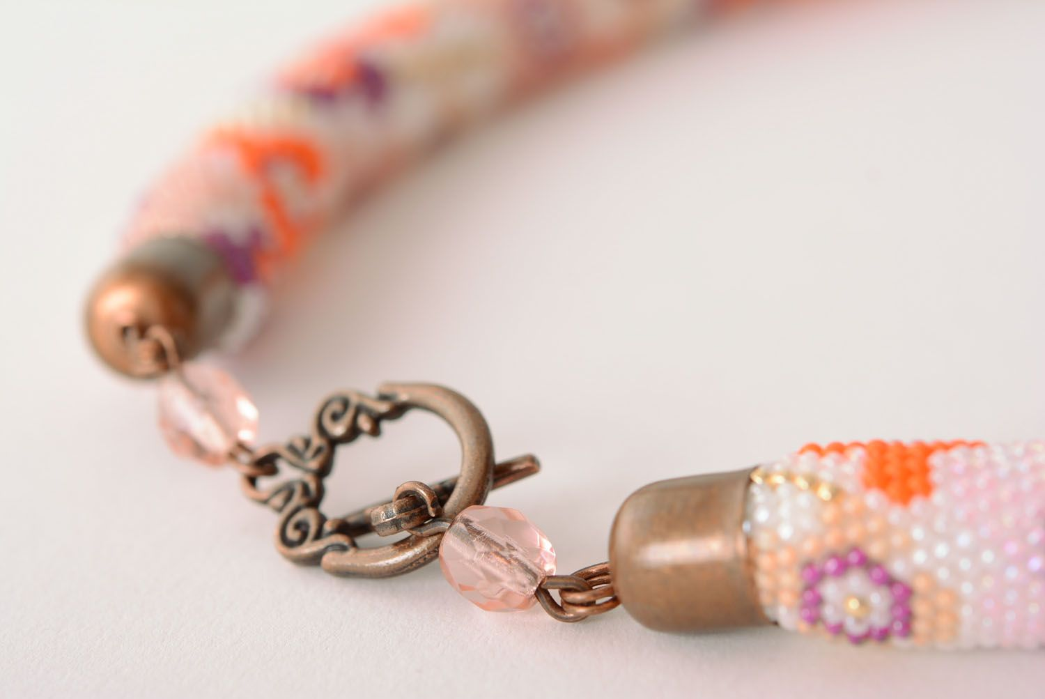 Floral beaded cord necklace photo 5