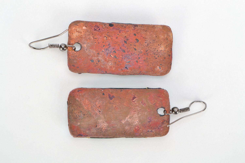 Rectangular copper earrings Dancing Africa photo 3
