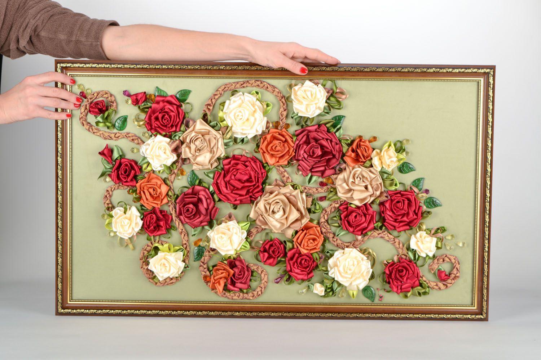 картины из тканевых цветов своими руками фото меня пятна