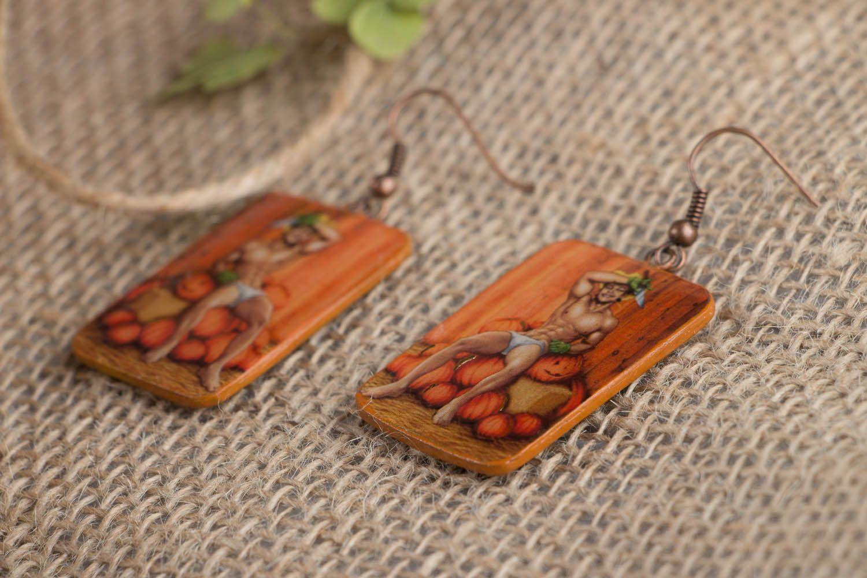 Polymer clay earrings Pumpkin Carver photo 2