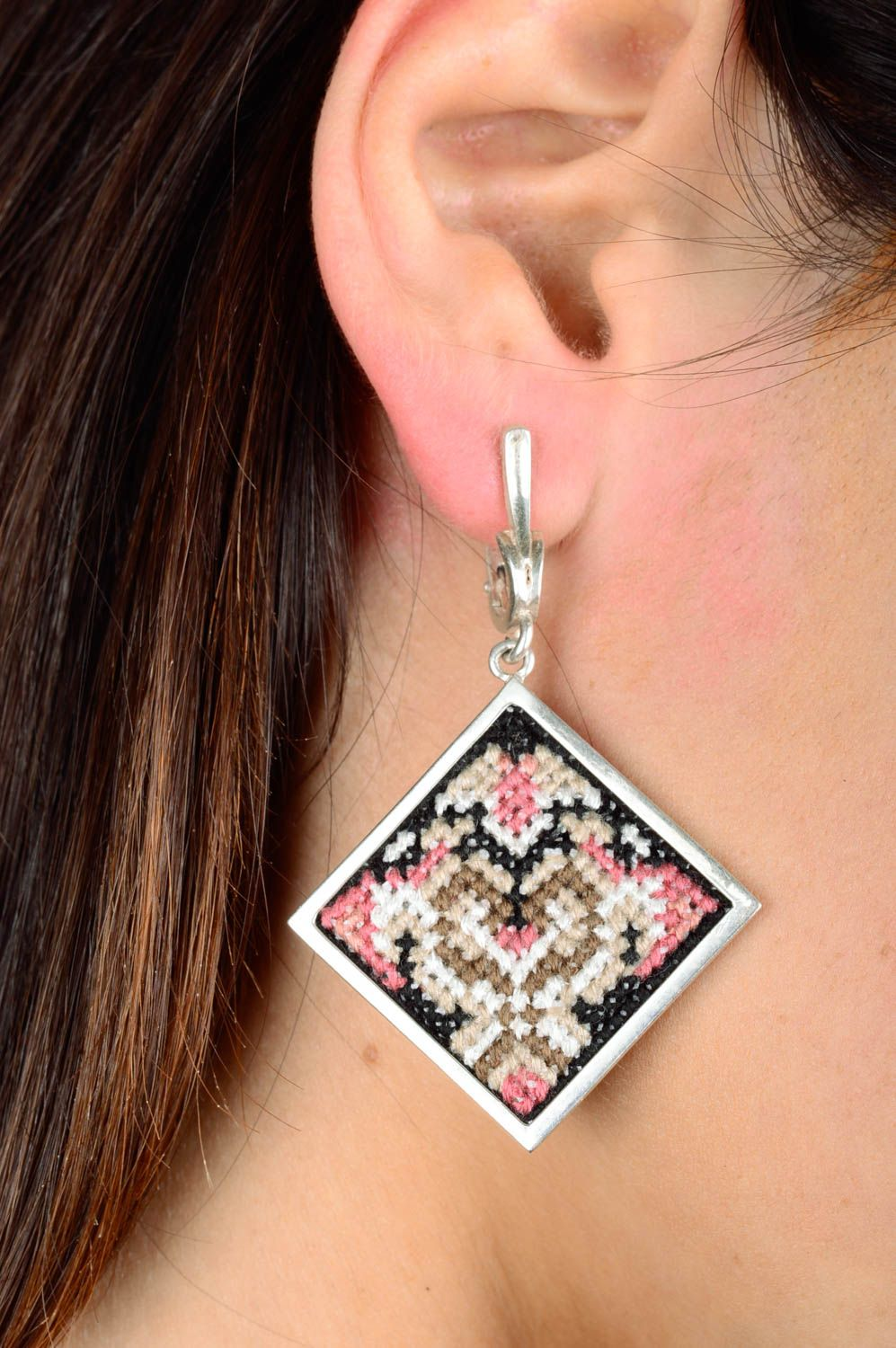 Stylish earrings handmade earrings handcrafted jewelry embroidery designs photo 2