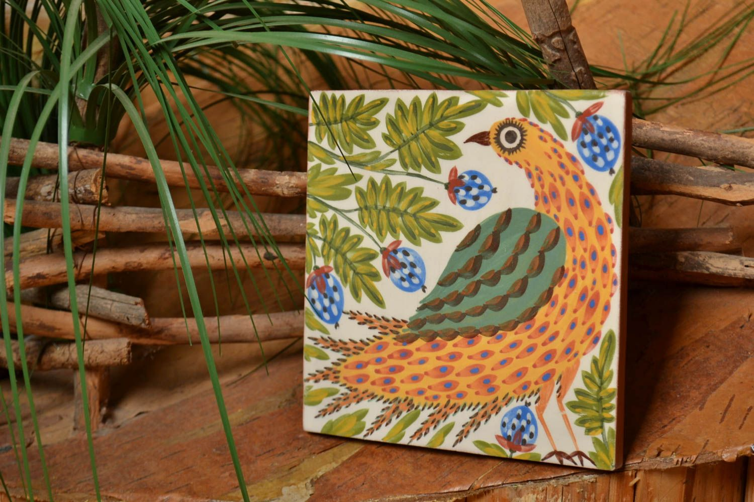 Beautiful handmade tile for fireplace or stove ceramic wall panel with bird  photo 1