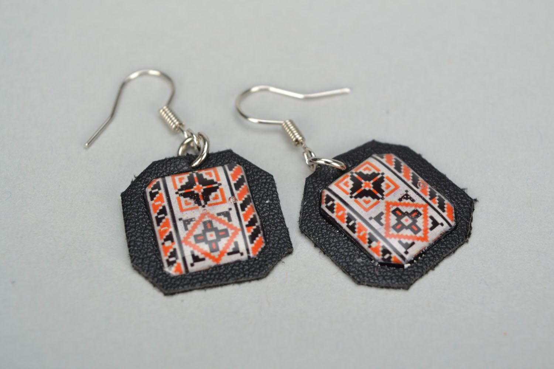 Ethno style leather earrings Vyshyvanka photo 2