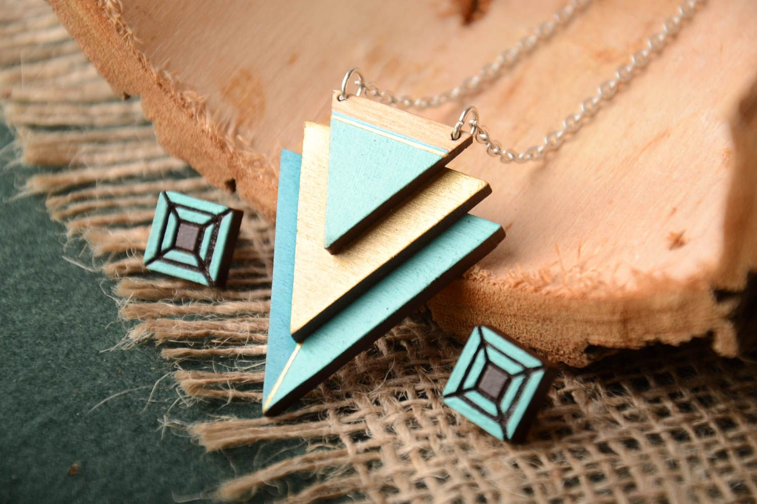 Handmade wooden stud earrings wooden pendant contemporary jewelry set gift ideas photo 1