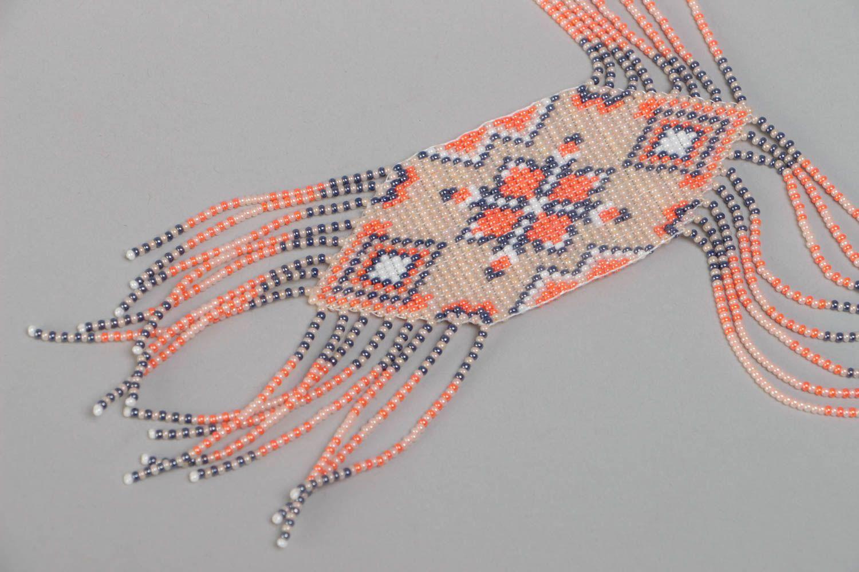 Beautiful pink handmade designer beaded gerdan necklace woven of Czech beads photo 3