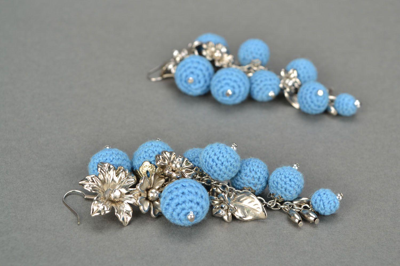 Crochet earrings Cornflower Paradise photo 1