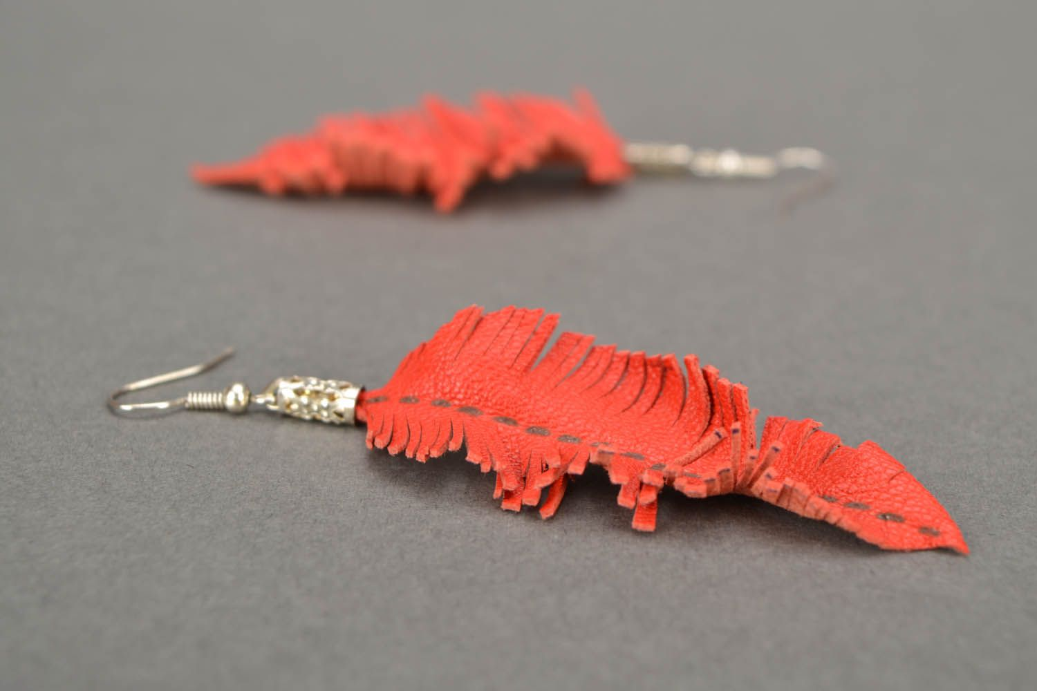 Leather earrings Leaves photo 5