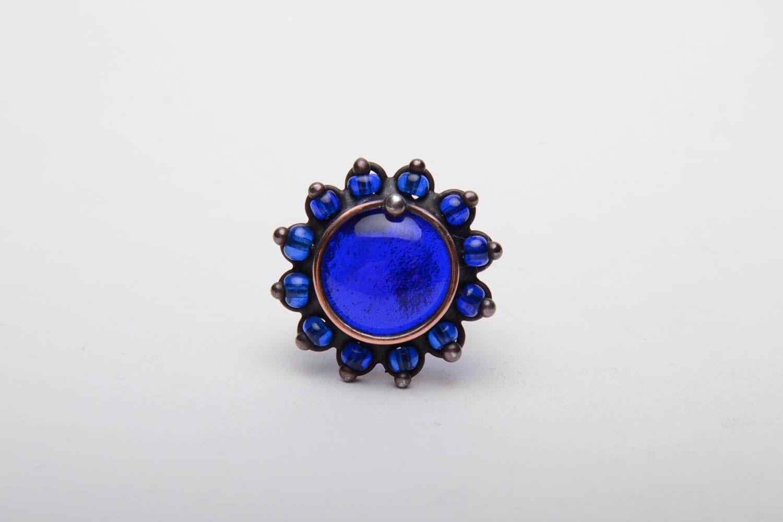 Kupfer Ring mit blauem Glas foto 2