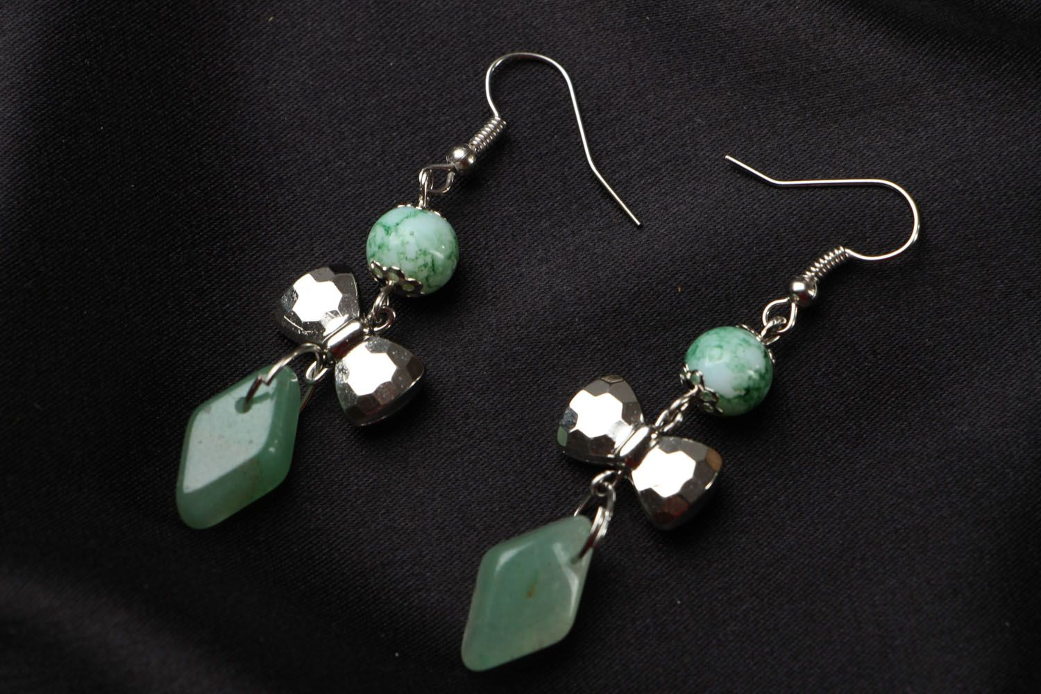 Earrings with nephrite charms photo 1