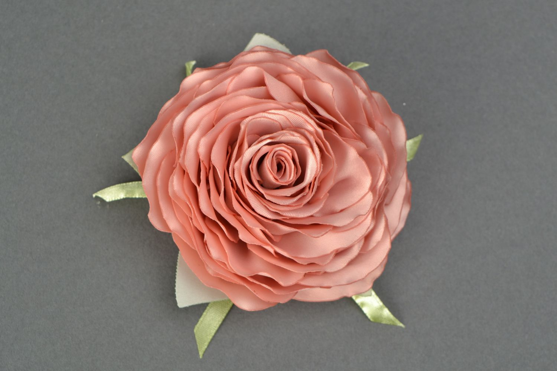 Satin ribbon brooch hair clip in the shape of tea rose photo 1