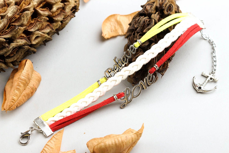 Unusual handmade leather bracelet wrist suede bracelet cool jewelry designs photo 1