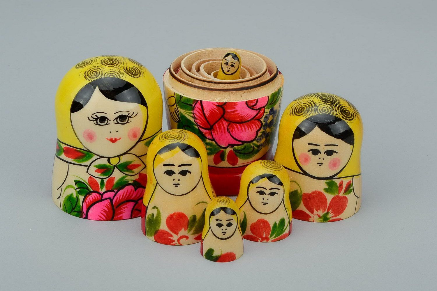 Painted wooden nesting doll of average size photo 1