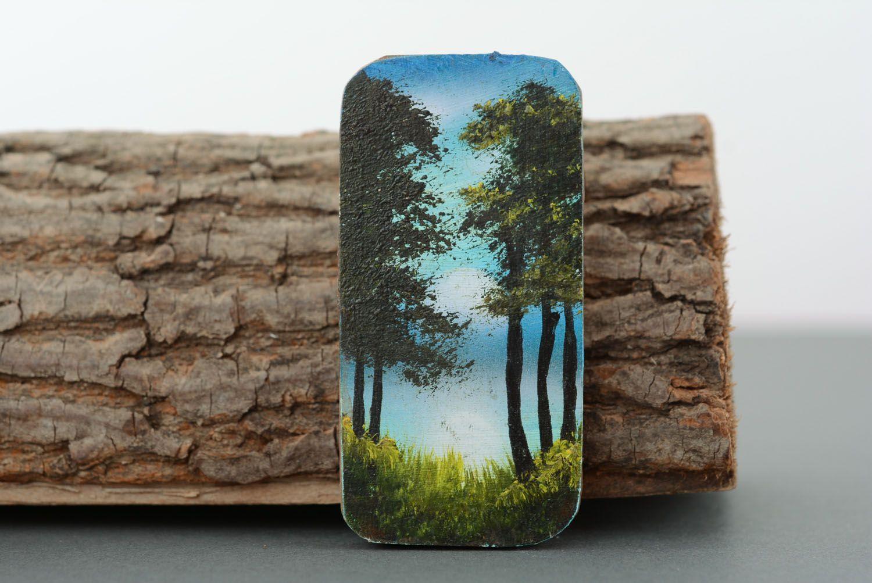 Wooden fridge magnet Pine Forest photo 1