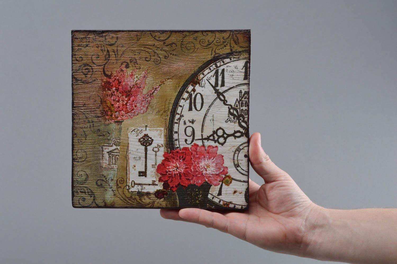 Madeheart cuadro de madera cuadrado artesanal en t cnica - Relojes para decorar paredes ...